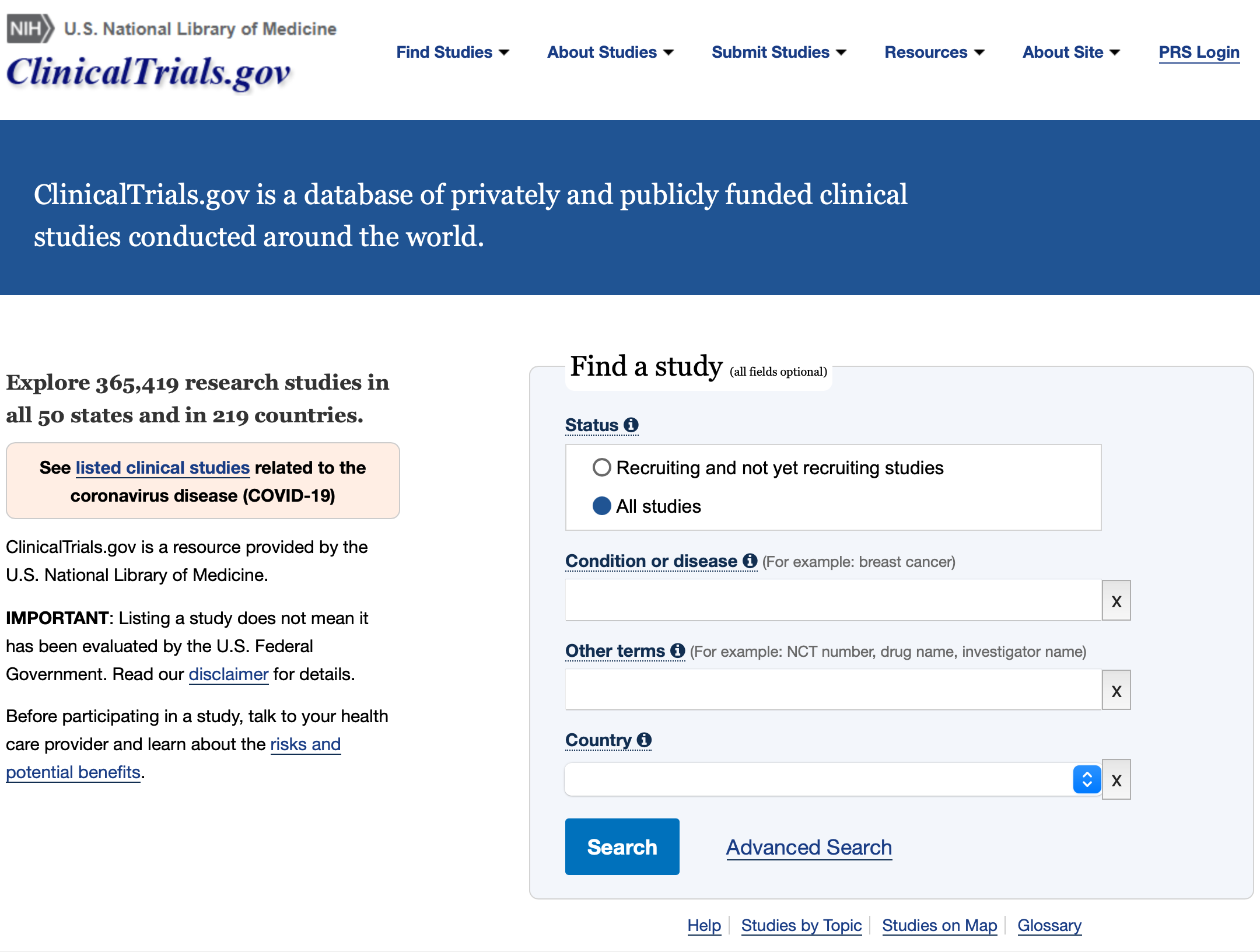 A view of the homepage of clinicaltrials.gov